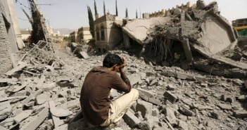 A guard sits on the rubble of the house of Brigadier Fouad al-Emad, an army commander loyal to the Houthis, after air strikes destroyed it in Sanaa, Yemen June 15, 2015. Warplanes from a Saudi-led coalition bombarded Yemen's Houthi-controlled capital Sanaa overnight as the country's warring factions prepared for talks expected to start in Geneva on Monday. REUTERS/Khaled Abdullah      TPX IMAGES OF THE DAY      - RTX1GJK0